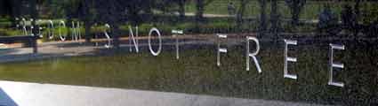 Opportunistic slogan on memorial to Korean War Veterans