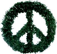 Peace sign Christmans wreaths prevail