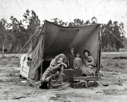 Great Depression Okies living in tents