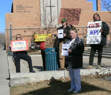 Rally beneath First Presbyterian Church
