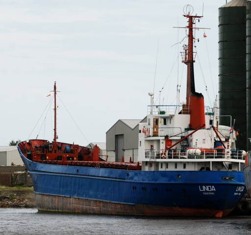 Newly rechristened MV Rachel Corrie at Brown's Quay, Dundalk, Ireland