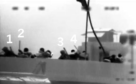 Infiltrators aboard the Gaza Freedom Flotilla, seen on thermal video purporting to depict Israeli commandos being beat by Turkish peace activists