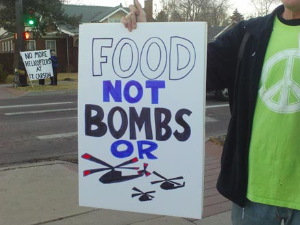 Food not bombs or helicopters
