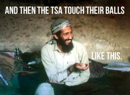 A smiling Osama bin Laden ridiculing Americans