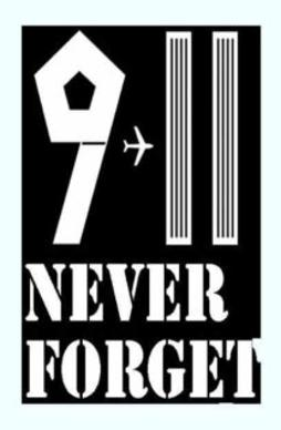 Never Forget 9-11 illustrating airliner flying from Pentagon to Twin Towers