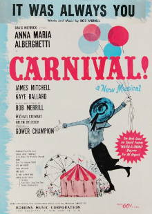 Sheet music cover to Bob Merrill's IT WAS ALWAYS YOU from Carnival