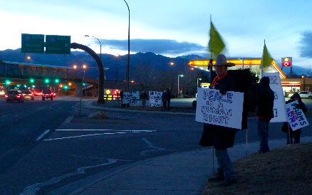 Occupy Colorado Springs protest at Crowne Plaza Hotel, Jan 26, 2012