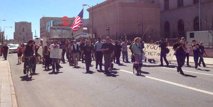 Occupy Denver activists protested Saturday at police administration building.