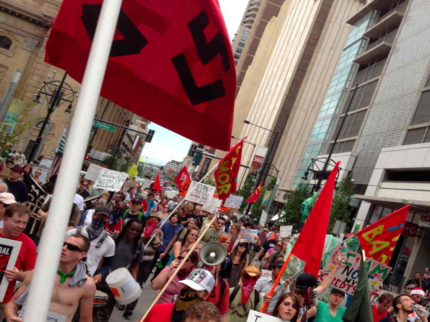 Occupy Denver activists took to the streets of downtown Denver in an un-permitted march.