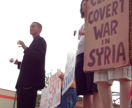 Stay Out of Syria, No War with Iran and Syria, Cease Covert War in Syria