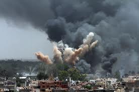 NATO bombing the Gaddafi headquarters