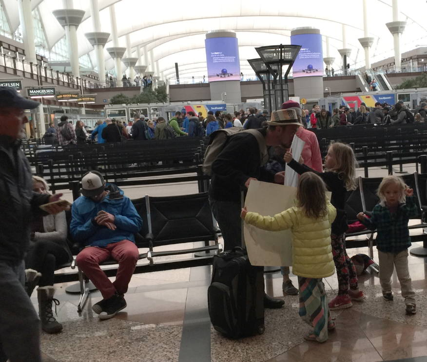 Unpermitted Signs At Denver Internat'l Airport. Kids Get